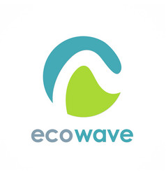 Eco wave round logo vector