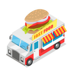 fast food trolley isometric projection design vector image vector image