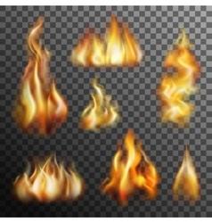 Fire Transparent Set vector image
