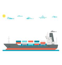 flat design cargo ship background vector image