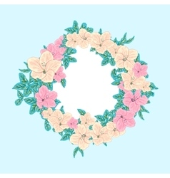 Flower in round frame vector