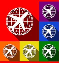 globe and plane travel sign set of icons vector image