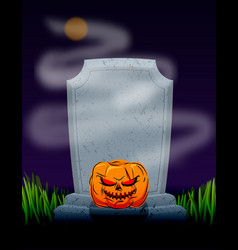grave in cemetery at night tombstone and spooky vector image vector image