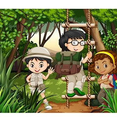 Kids hiking in the forest vector image vector image