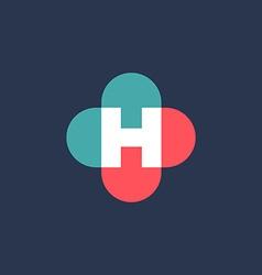Letter h cross plus logo icon design template vector