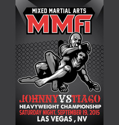 mma fighting poster vector image vector image