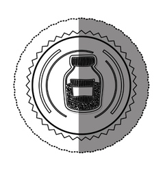 Monochrome sticker round frame with half bottle vector
