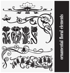 Ornamental floral elements vector
