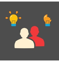 People and bulbs flat concept vector