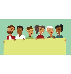 People characters holding banner vector