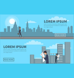 People walking in city with building on background vector