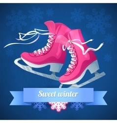 Retro Christmas card with ice skates vector image