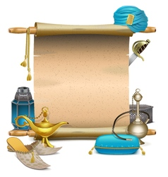 Scroll with Eastern Accessories vector image