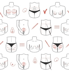 Seamless pattern of body plastic surgery with line vector image vector image
