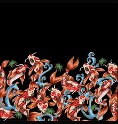 seamless pattern with japanese carp koi vector image