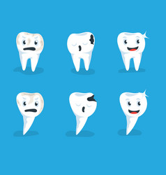 set healthy human teeth and vector image