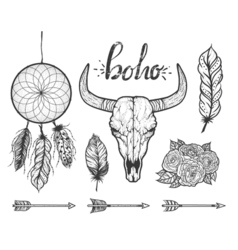 Set of Boho elements Bull skull native Americans vector image vector image