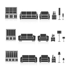 Set of silhouettes furniture vector image