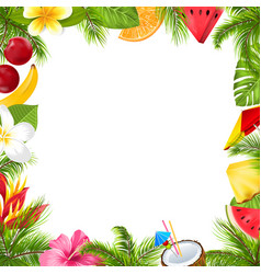 Summer fruits poster with hibiscus frangipani vector