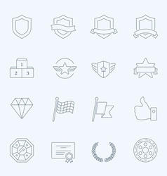 Trophy awards thin outline stroke icons vector