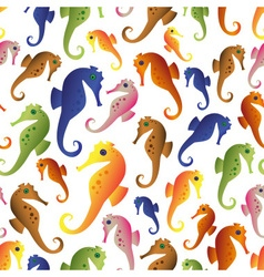 Various color seahorses icons set seamless pattern vector