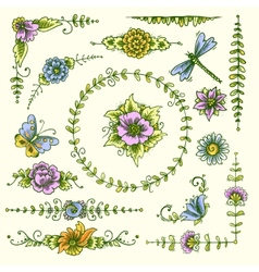 Vintage decorative elements color vector
