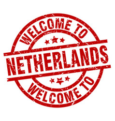 Welcome to netherlands red stamp vector