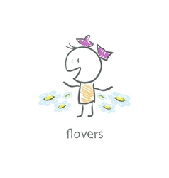 Girl and flowers vector