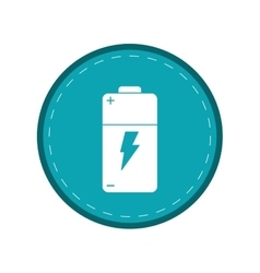 Battery charge alkaline lighting green circle vector