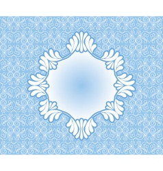 Vintage blue frame on damask background vector