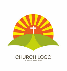 bible sun and cross vector image