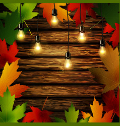 Wooden wall with autumn leaves frame vector