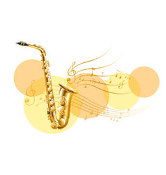 golden saxophone with music notes vector image