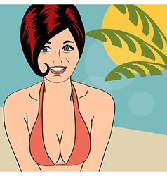 Hot pop art girl on a beach vector