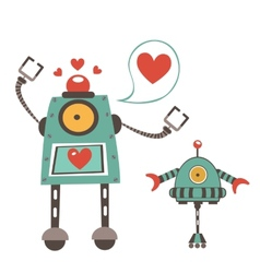Cute robots in love couple vector