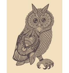 Original artwork of owl ink hand drawing in vector