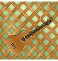 Background pattern with crossed planks ang guitar vector