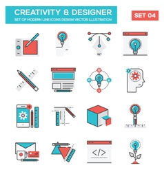 Modern flat line icon concept of creativity vector