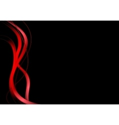 Red waves on black background vector