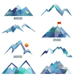 Mountain icon sets vector image