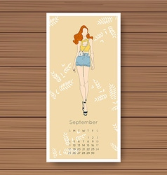 September hand drawn fashion models calendar 2016 vector