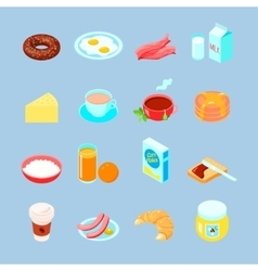 Breakfast food and drinks flat icon set vector
