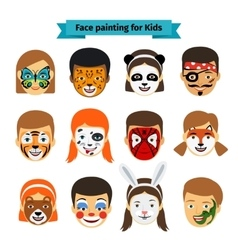 Kids faces with painting vector