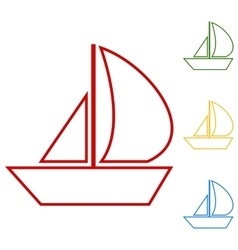 Sail boat set of line icons vector