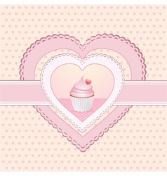 cupcake heart label vector image