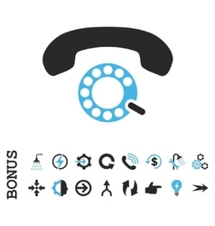 Pulse dialing flat icon with bonus vector
