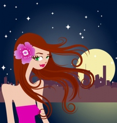 Beautiful girl with night city vector
