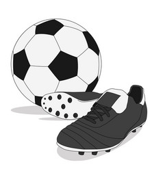 black and white soccer ball with stud shoes vector image