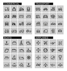 Black transport icons set vector