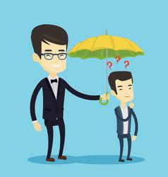 Businessman holding umbrella over man vector
